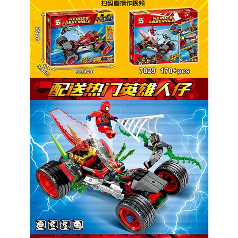 63105 Конструктор SY7029 (18шт) супергерои, машина, фигурки, 170дет, в кор-ке, 33-26,5-6см