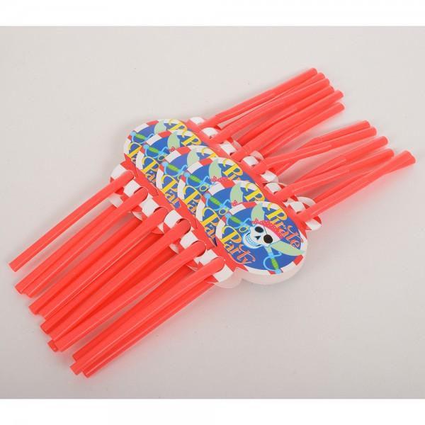 71113 Аксессуары для праздника MET10147-4 (200шт) трубочки, пираты 12шт, 26см, в кульке, 16-33-2см