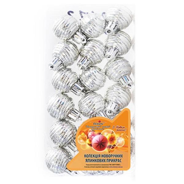 7037 8173 Кульки ялинкові, пластик, 3см, 18шт/наборі