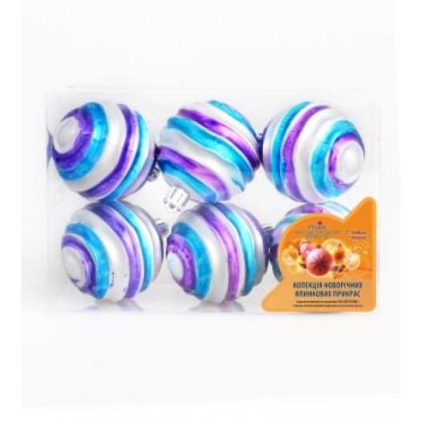 7033 8204 Кульки ялинкові, пластик, 6см, 6шт/наборі