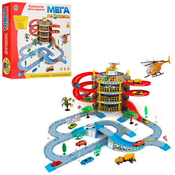 13643 Гараж 922-10 (16шт) 4 этажа,машинка 2шт,вертолет,дорож.знаки,дерево 4шт,в кор-ке,47,5-40,5-9см