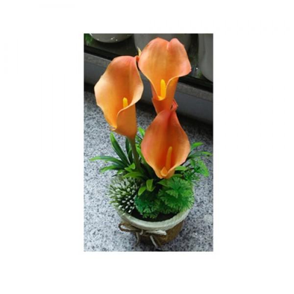 76971 Декор T15-20 квіти, 16 см., в горщику, 3 кольори, кор., 10,5-22-10,5 см.