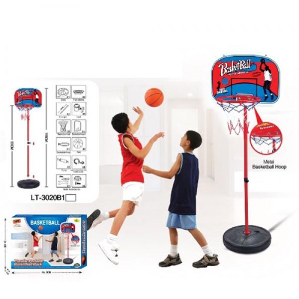 109758 Баскетбольное кольцо MR 0335 (12шт) на стойке160см,сетка,щит46,5-32,5см, мяч,насос, кор,47-35-10,5см