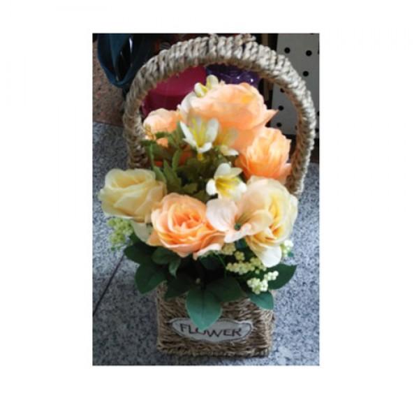76984 Декор T15-47 квіти, троянди, 31 см., в кошику, 3 кольори, кор., 14,5-32,5-14,5 см.