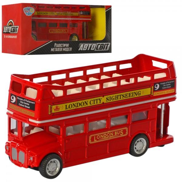119286 Автобус AS-2 822 АвтоСвіт, мет., інерц., гум. колеса, кор., 16,5-7,5-7 см.