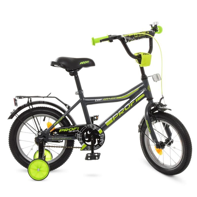 74145 Велосипед детский PROF1 14д. Y14108 (1шт) Top Grade,графит-салат.(мат),звонок,доп.колеса