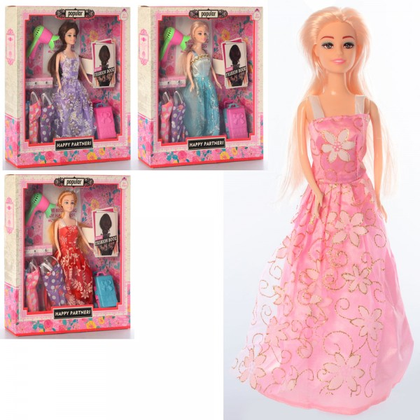 Кукла с нарядами 1031 (30шт) 29см, платья, фен, чемодан ...
