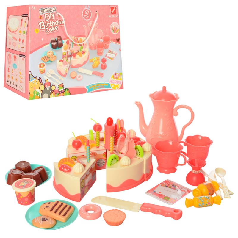 75025 Продукты 889-147 (24шт) торт на липучке, сладости,коф.сервиз,нож,свечи, 62дет,в кор-ке, 28-20,5-10см