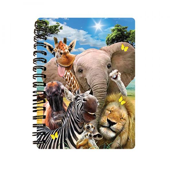 73004 Блокнот 18133 (144шт) африканские животные, селфи, 10,5-14,5см, клетка,на пружине, 3D,24шт в дисплее