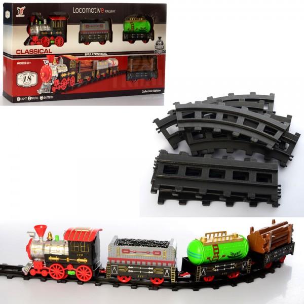 100495 ЖД 1022-2 (18шт) 98-48см, паровоз, вагон3шт, звук, свет, на бат-ке,в кор-ке, 58-28,5-8см