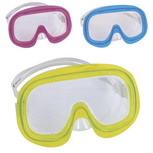 10 BW Маска 22024 (12шт) для плавания, 7-14лет, 3 цвета (синий,красн,желт), в слюде, 21,5-19-5,5см