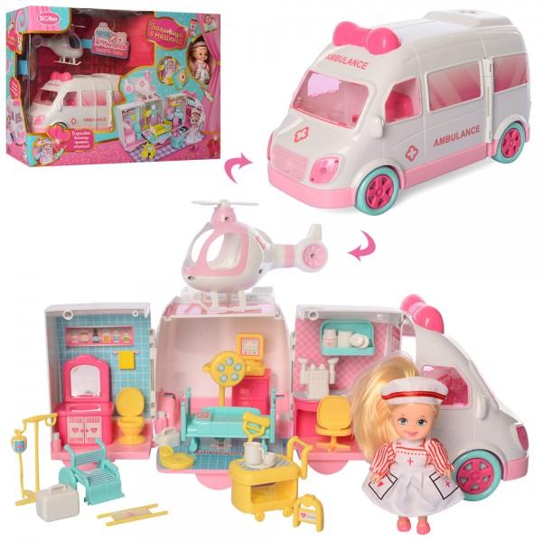 87678 Доктор QL049-2 (6шт) больница на колесах, мебель,вертолет,кукла-врач11см, в кор-ке,51,5-34,5-16см