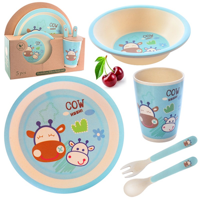 56956 Посуда детская бамбук 5пр/наб (2тарелки, вилка, ложка, чашка)  N02330/MH-2772 (24наб)