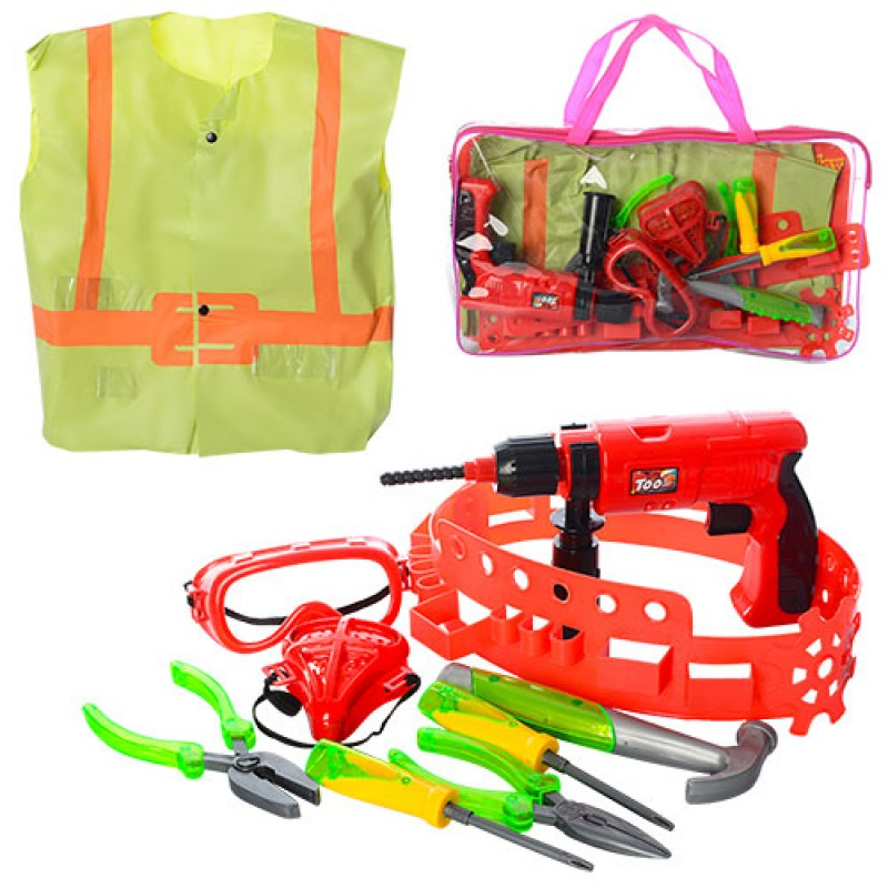 38603 Набор инструментов 2004-08 (24шт) на поясе,дрель(механ),очки,отвертки,плоског,в сумке,40,5-23-4,5см