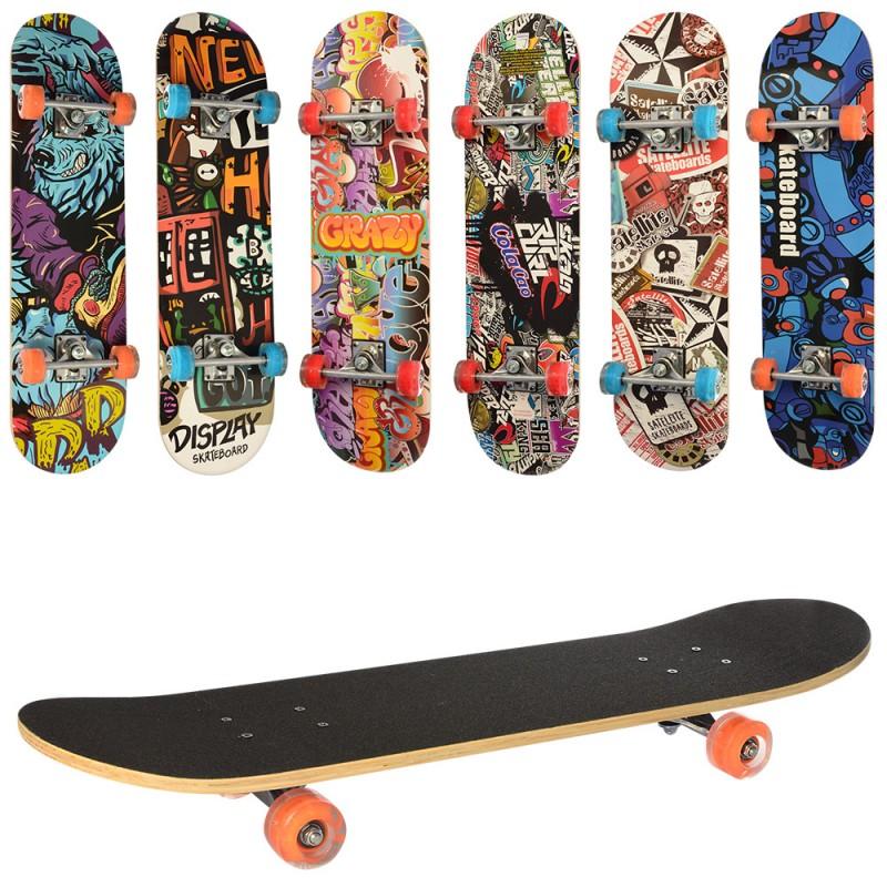 34401 Скейт MS 0321-3 (6шт) 79,5-19,5см,алюм.подвеска,колесаПУ,7слоев,608Z,разобр,доска наждак,6видов,куль