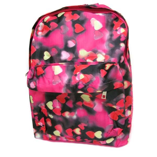 "31405 DSCN0616-B-1 Рюкзак с карманом ""Сердечки"", 42х30х13см"