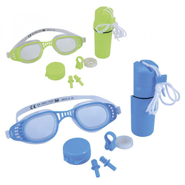 19932 BW Набор для плавания 26002 (24шт) очки, беруши, клипса для носа, 2 цвета, колба, на листе,