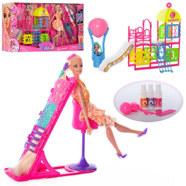 12901 Мебель 66877 (12шт) игр.площ,кукла 29см,шарнир,дочка10см,трафарет,краска для волос,в кор,67-34-11см