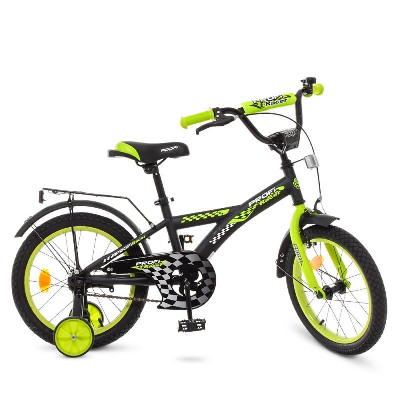 74123 Велосипед детский PROF1 16д. T1637 (1шт) Racer,черно-салатовый,звонок,доп.колеса