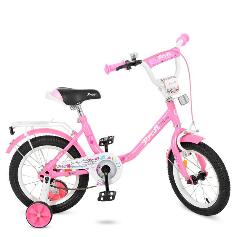 50587 Велосипед детский PROF1 14д. Y1481 (1шт) Flower, розовый,звонок,доп.колеса