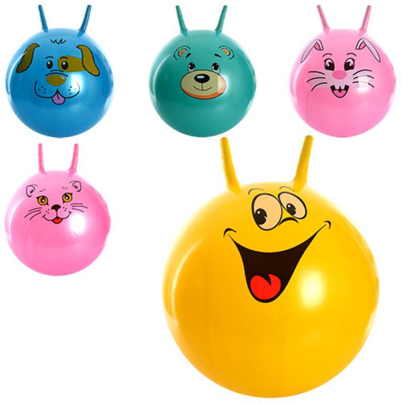 2913 Мяч для фитнеса MS 0479 (25шт) с рожками, 45см, 450г, 5 видов, в кульке, 20-16-5см
