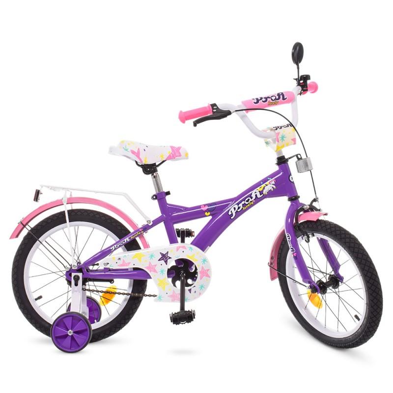 47484 Велосипед детский PROF1 16д. T1663 (1шт) Original girl,фиолетов.-розов.,звонок,доп.колеса