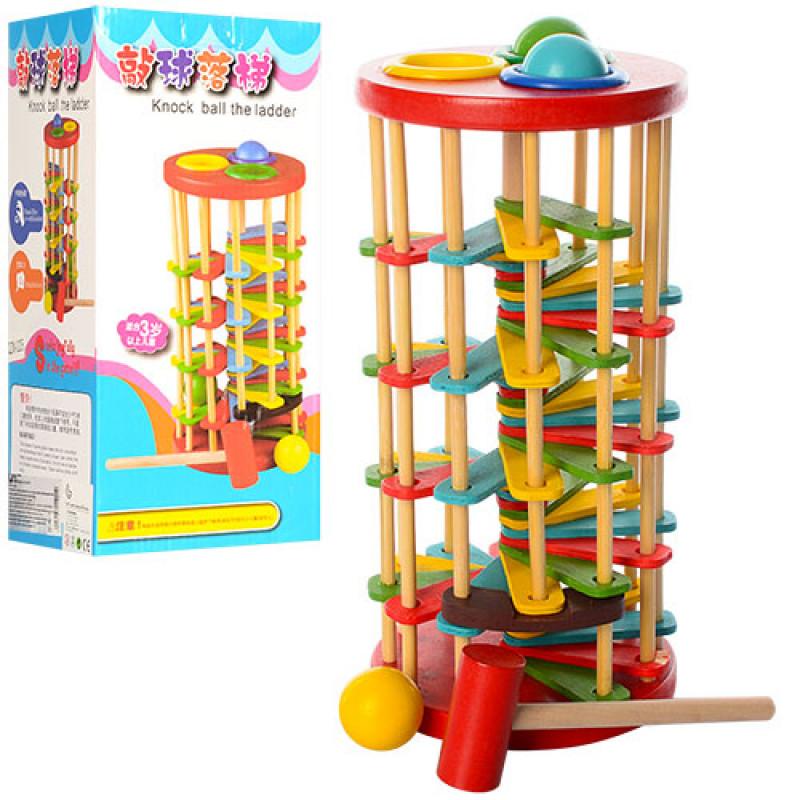 336 Деревянная игрушка Стучалка QZM-0205 (50шт) молоточек, шарики, в кор-ке, 13-29-13см