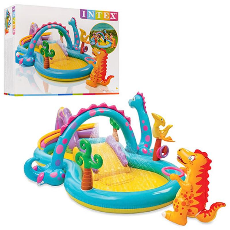 3071 Игровой центр 57135 (2шт) планета динозавров, с горкой, душем, мячиками и надувными игрушками