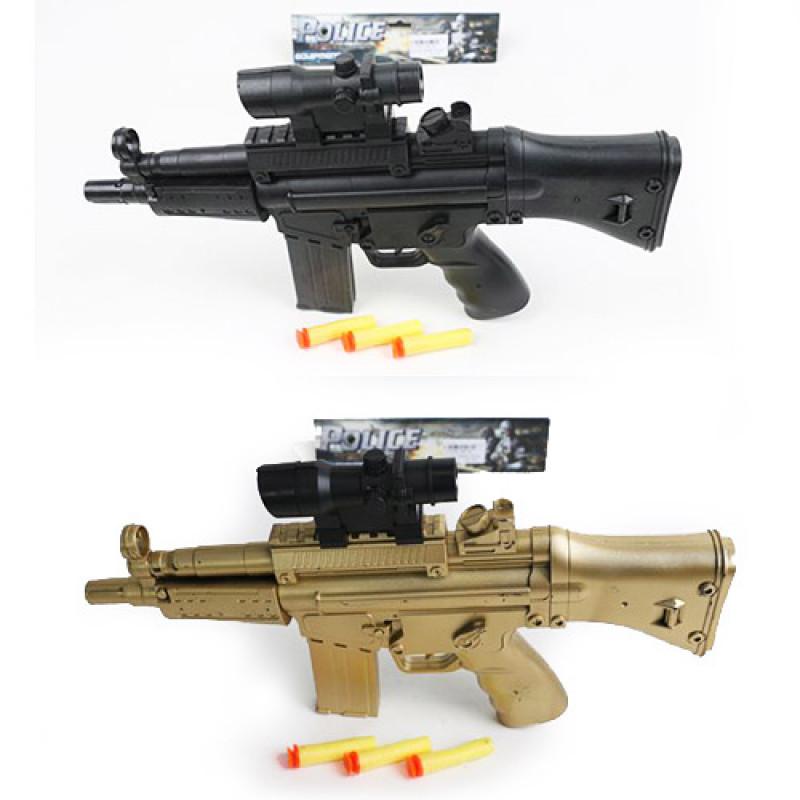 27192 Автомат 358-2A-3A (120шт) 37см,мягкие пули-присоски 3шт,лазер, 2цв, на бат(таб),в кульке,36-20-3,5см