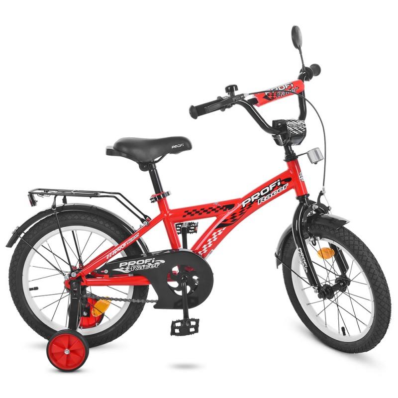 47479 Велосипед детский PROF1 16д. T1631 (1шт) Racer,красный,звонок,доп.колеса