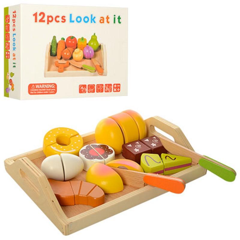 47290 Дереянная игрушка Продукты MD 1195 (24шт) на липучк,2в(овощи12пр,сладост11пр),доск,нож,кор,25-19-6см