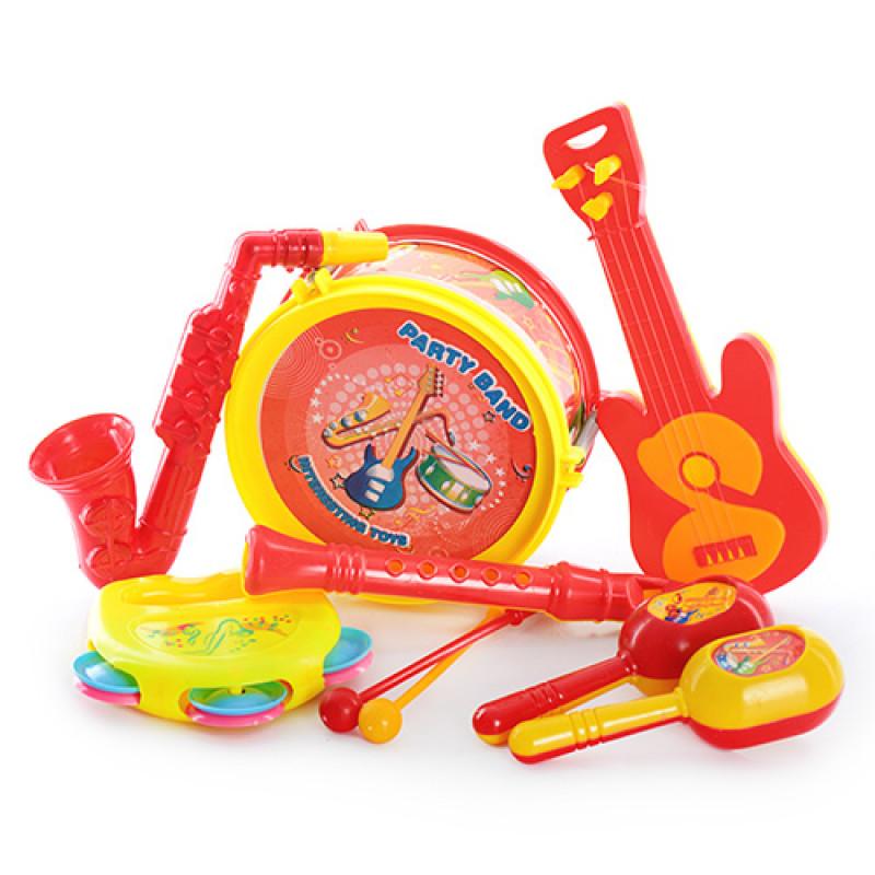 4138 Погремушка 03626-15/03626-8 (96шт) муз.инструменты, 7шт в кульке, 20,5-25-7см