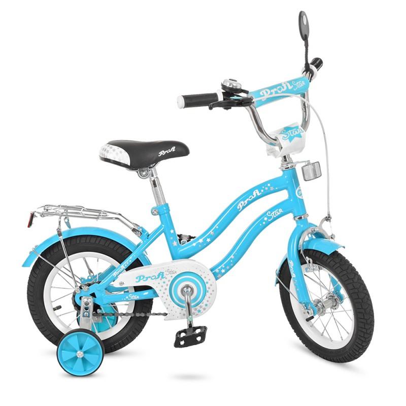 1865 Велосипед детский PROF1 14д. L1494 (1шт) Star, голубой,зеркало,звонок,доп.колеса