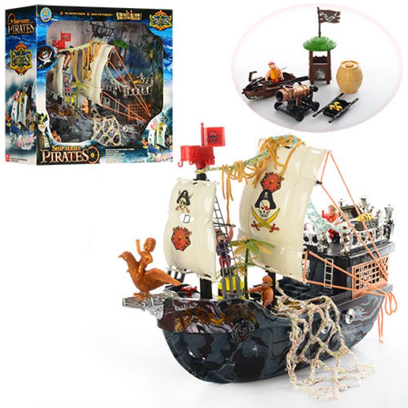 24902 Корабль пиратов 50838D (6шт) 40см, лодка, вышка, пушка, фигурки 4шт, в кор-ке, 48-42-18см