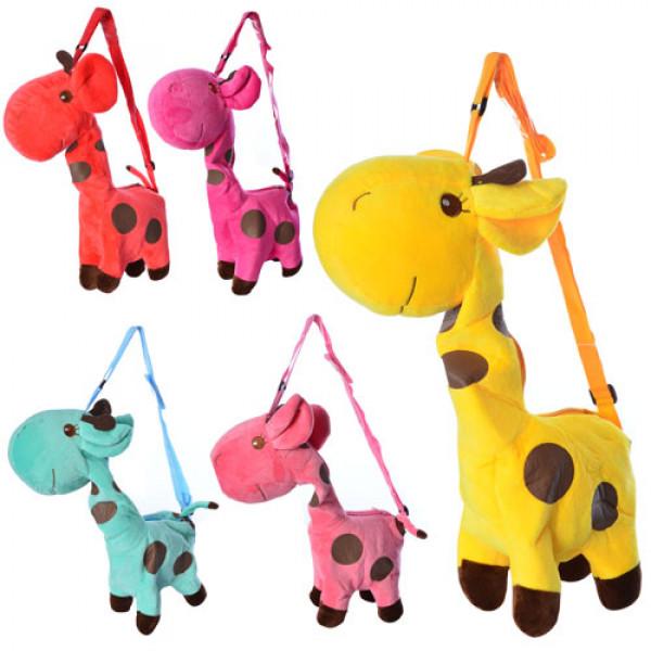 11626 Сумочка BLS 2670 (150шт) жираф, длинная ручка, застежка-молния,1отделение,5 цветов,40-20-9см