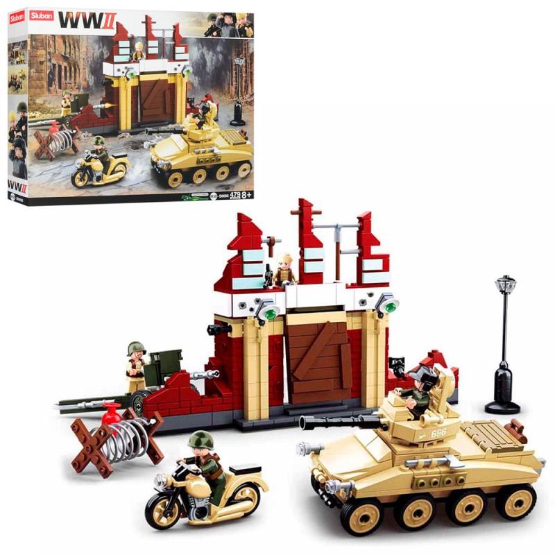 70391 Конструктор SLUBAN M38-B0696 (12шт) военная техника, строение, фигурки, 479дет, в кор-ке,43-33,5-7см