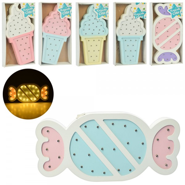73529 Деревянная игрушка Ночник MD 2075 (24шт) 30см,2в(мороженое/конфета)/микс цв,св,бат,кор,16-31-3,5см