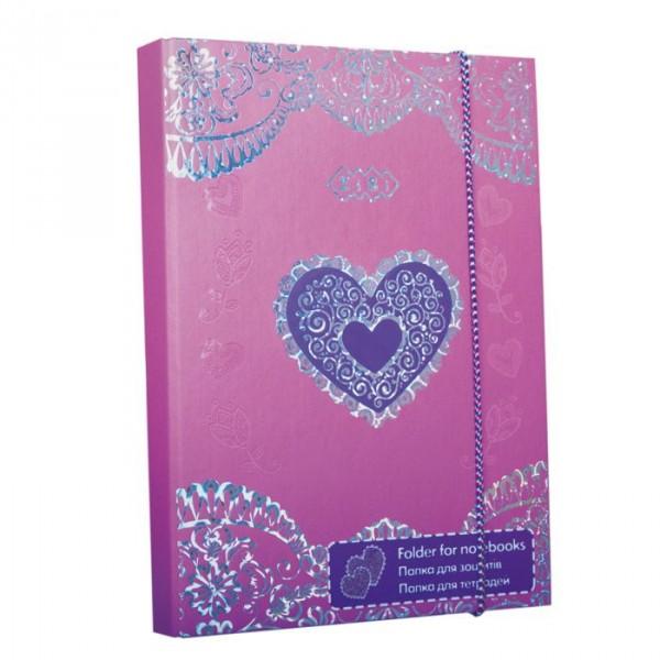 3466 /Папка для зошитів HEART, картонна, на гумках В5+ (175х240х25мм)