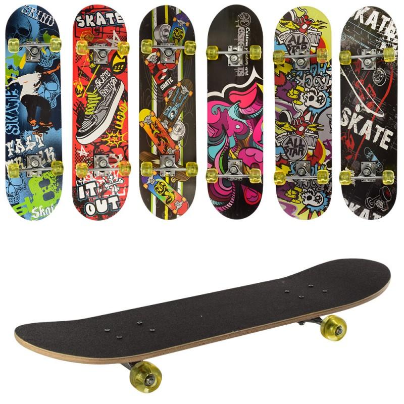25126 Скейт MS 0321-1 (6шт) 78,5-20см,алюм.подвеска,колесаПУ,7слоев,6видов,608Z,разобр,доска в кульке,