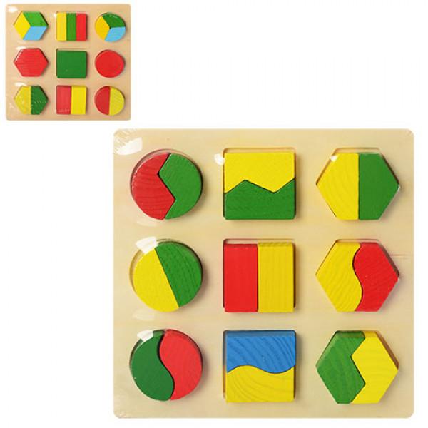2763 Деревянная игрушка Геометрика MD 0716 (75шт) 2 вида, в кульке, 18-18-2 см