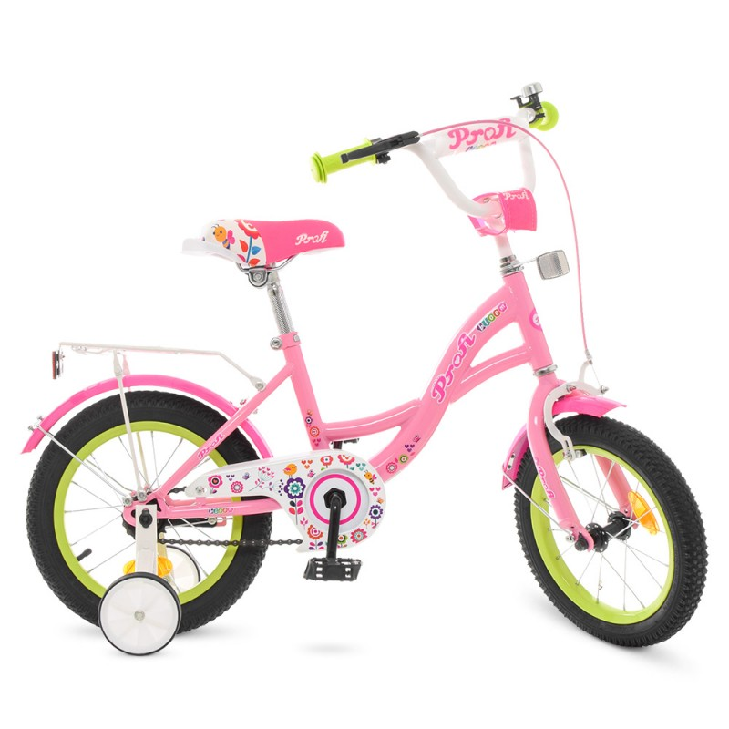 73721 Велосипед детский PROF1 14д. Y1421-1 (1шт) Bloom, розовый,звонок,доп.колеса