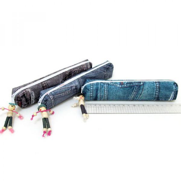"21992 SFS1399 Пенал ткан. одно отд. ""Jeans"", с фигуркой, 19x4x2см, mix"