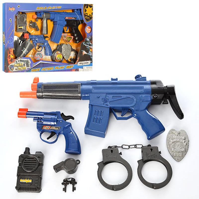 2330 Набор полицейского 8626-8627 (18шт) автомат,зв,св,пистолет,наруч, 2вид,на бат-ке,в кор-ке,45-30-4см