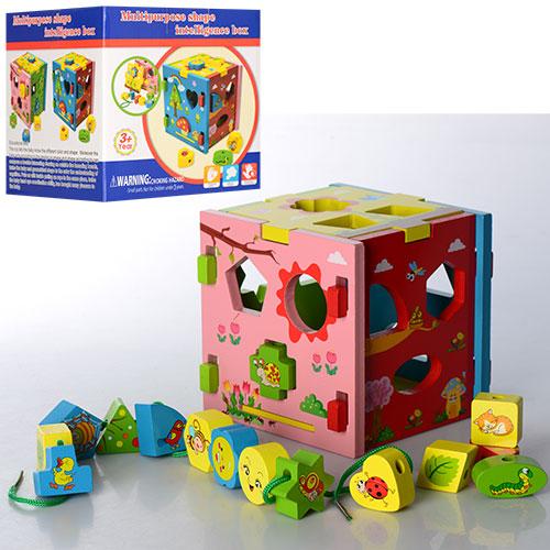 Деревянная игрушка Сортер MD 0921  куб,  фигурки 16шт,  шнуровка,  в кор-ке,  15-15-15см