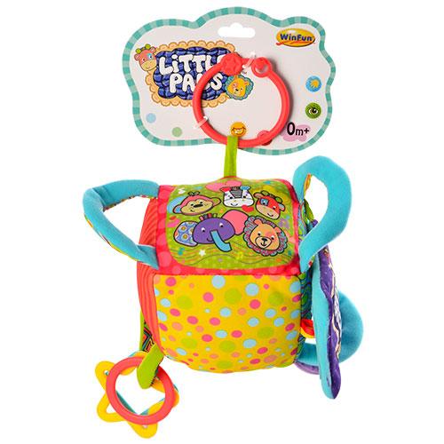 Підвіска на коляску 0226-NI кубик,  плюш,  брязкальце,  дзеркало,  11-11-11 см.