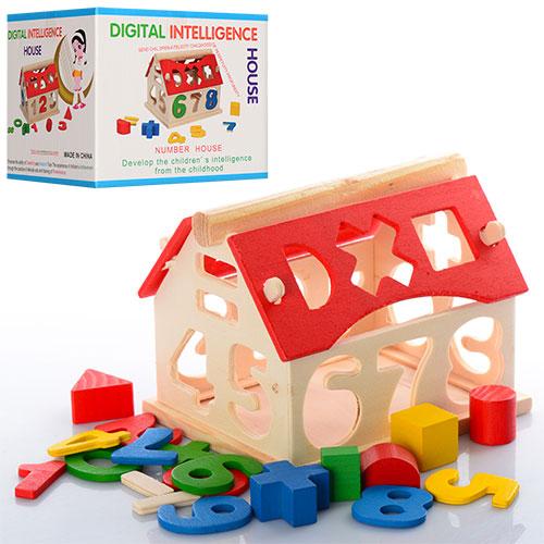 Деревянная игрушка Сортер BX-109  домик, фигурки-цифры, матем.знак, в кор-ке, 13, 5-11, 5-11см