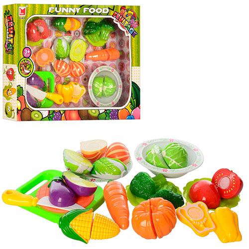 Продукты 618B  на липучке,  овощи,  тарелки 4шт,  досточка,  нож,  в кор-ке,  42-32-6, 5см