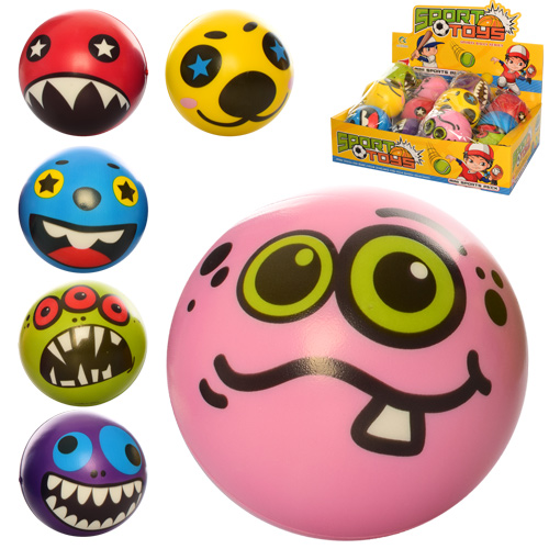 Мяч детский фомовый E4018  9, 5см,  монстры,  12шт(микс видов) в дисплее,  38-28-10см