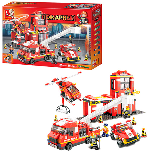 Конструктор SLUBAN M38-B0227  пожарная часть, машинки, вертолет, фигурки, 745дет, в кор-ке, 57-38-9см