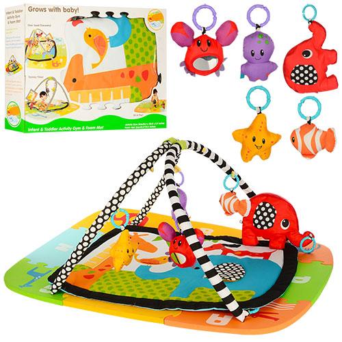 Коврик для младенца 63529 (6шт) 81-64см+коври-мозаика, дуги2шт, подвески5шт(животн), в кор, 64-48, 5-14см